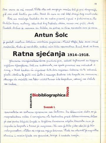 Ratna sjećanja 1914–1918. - Antun Šolc